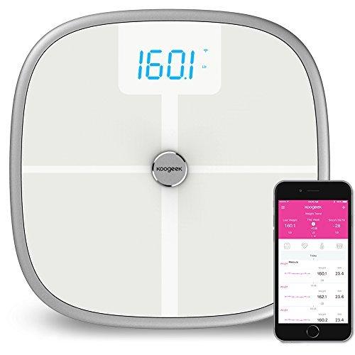 Koogeek Bluetooth-Wifi Smart Scale-Körperanalysegerät, 8 Körperstatistikmessfunktionen, 16 Benutzererkennungen