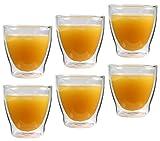 Feelino 6x 200ml 'Rondorello' doppelwandiges Kaffeeglas & Teeglas, edle Thermogläser mit Schwebeeffekt