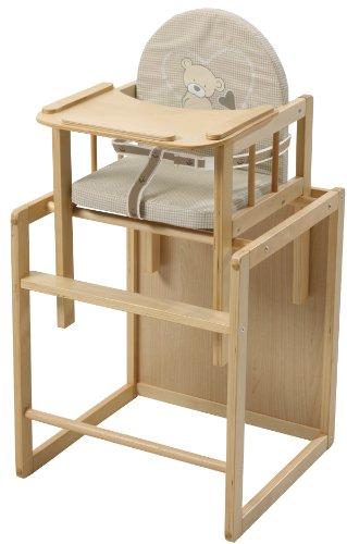 roba Kombi-Hochstuhl, Hochstuhl mit Essbrett wandelbar zu Tisch & Stuhl, Kinderhochstuhl Holz natur, Sitz gepolstert 'Liebhab Bär'