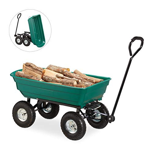 Relaxdays Kippwagen, Gartenwagen mit Kippfunktion, zum Outdoor Transport, Lenkachse, bis 200kg, Luftreifen 3.50-4', grün