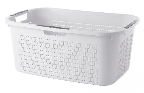 Sundis Wäschekorb 'Country' in weißer Rattan Optik - stabiler Kunststoff Wäschesammler, 40Liter - leichte Wäschetruhe mit guter Belüftung - angenehmes Tragen der Wäschebox - 59 x 39 x 25.2 cm - weiß