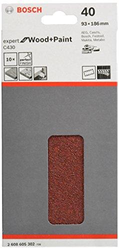Bosch Professional Schleifblatt für Schwingschleifer Holz und Farbe Expert for Wood and Paint (10 Stück, Körnung 40, C430)