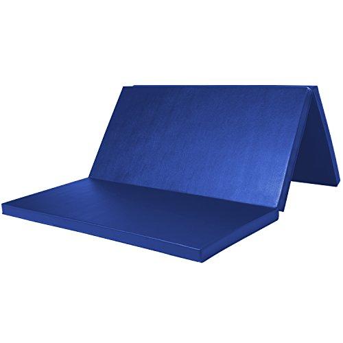WolfWise 120 x 180 cm Weichbodenmatte, Klappbare Fitnessmatte Gymnastikmatte Turnmatten, Rutschfeste Sportmatte Spielmatte für Kinder/ Erwachsenen, Blau, Groß