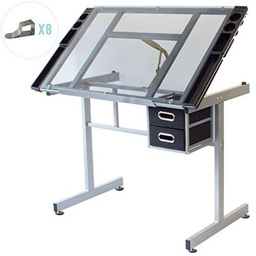 Stationery Island DUNBAR Zeichentisch zum Malen und Basteln – Kippbarere Glas Architektentisch mit Stauraum, Hocker und Clips