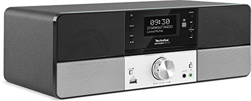 TechniSat DIGITRADIO 360 CD / Digital-Radio mit CD-Player, 2x 5 Watt Stereo-Lautsprecher, Display, Fernbedienung, DAB+, UKW und USB-Schnittstelle im Holzgehäuse mit Aluminiumfront, schwarz/silber