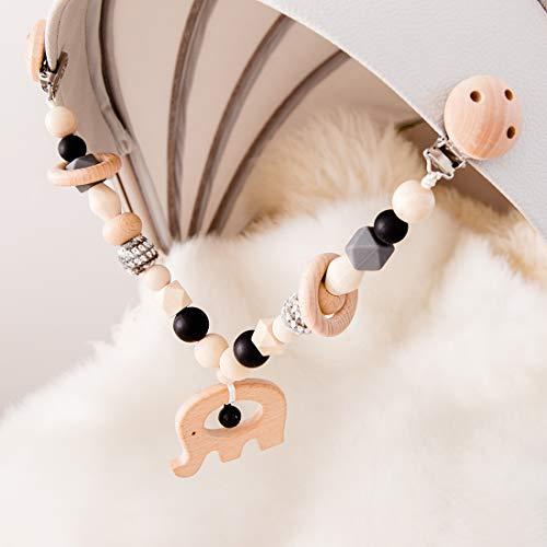 Mamimami Home 1pc Baby Holz Tier Kinderwagen String Links Clip auf Kinderwagen Halter Silikon Perlen Kinderkrankheiten Kette Neugeborenen Spielzeug