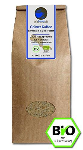 Grüner Kaffee bio gemahlen - Honduras (Rohkaffee gemahlen 1000g)