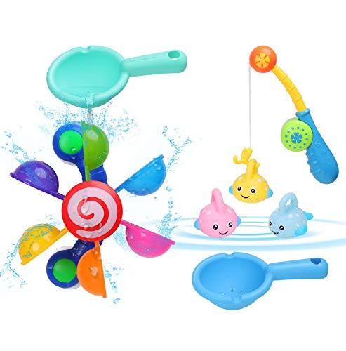 BBLIKE Badewannen Spielzeug, 7 Stück Badespielzeug Bad Angeln Spielzeug mit Schwimmenden Fisch, wasserspielzeug im Badewanne für Baby und Kleinkinder , Badespaß ab 2 Jahre für Badewanne Dusche Pool