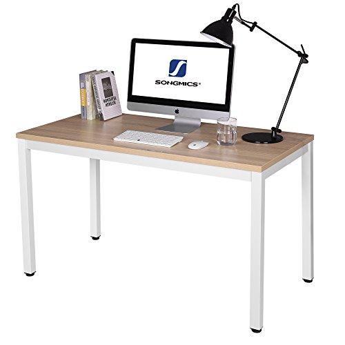 SONGMICS Schreibtisch Große Computertisch Bürotisch Arbeitsfläche PC-Tisch für Home Office 120 x 76 x 60 cm holzfarben + weiß LWD64N