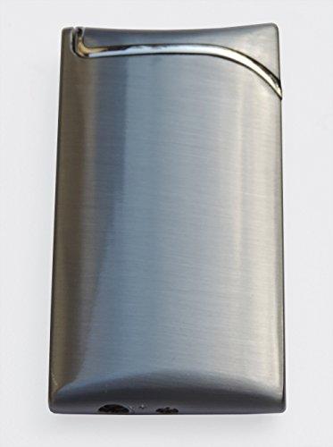 GravUp Schmales Gas-Feuerzeug (Grau) mit SOFORTGRAVUR +VORSCHAU: Gravur Eines Vornamens auf der Vorderseite Inklusive