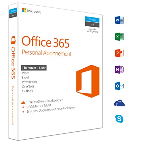Microsoft Office 365 Personal multilingual | 1 Nutzer | Mehrere PCs / Macs, Tablets und mobile Geräte | 1 Jahresabonnement | Box