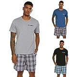 Herren Schlafanzug Pyjama Kurz Nachtwäsche 2-Teiler Shorty inkl. Hose Oberteile für Sommer Sauna (Grau Größe: M)