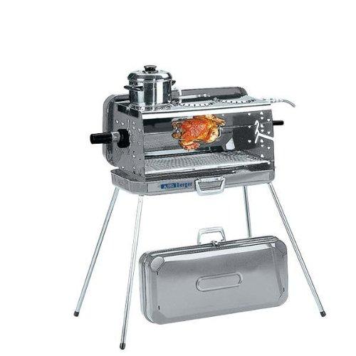 Berger 3-Flammen Koffer-Gasgrill silber 50 mbar inkl. Grillspieß mit 2 Fleischklammern Ausführung mit Kochplatte Edelstahl