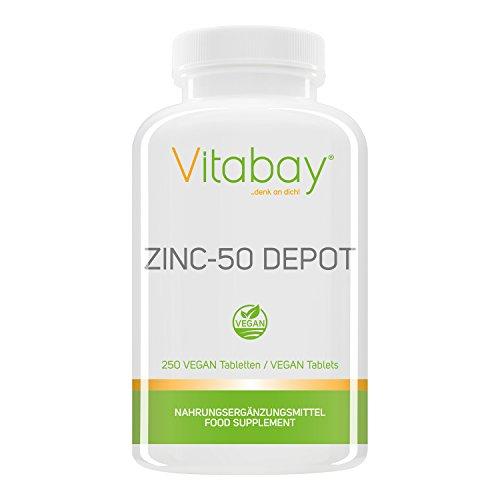 Zinc-50 Depot - 25 mg Zink (Elementargehalt) pro 1/2 Tablette - aus reinem hochdosierten Zink Gluconat - 100% Vegan - 250 XXL vegane Tabletten