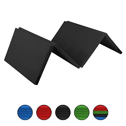 ALPIDEX Klappbare Leichtschaum Turnmatte 240 x 120 x 5 cm RG 18 mit Klettecken 3fach klappbar mit Antirutschboden, Farbe:schwarz