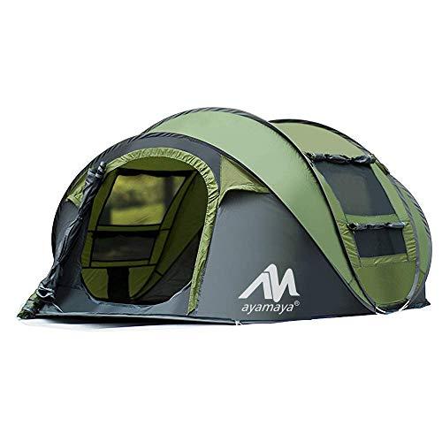 2win2buy Camping Zelt 3-4 Personen Pop Up Zelte, Outdoor Wasserdicht [2 Türen] Automatische Große Familie Zelt Shelter mit Tragetasche für Sport Backpacking Picknick Wandern Reisen Strand, Grün