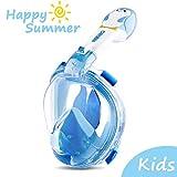 ORSEN Schnorchelmaske Vollmaske für Erwachsene & Kinder, Faltbare Tauchmaske Vollgesichtsmske mit 180° Sicht und Action Kamera-Halterung, Müheloses Atmen, Kein Beschlagen (Kids-Blue, XS)