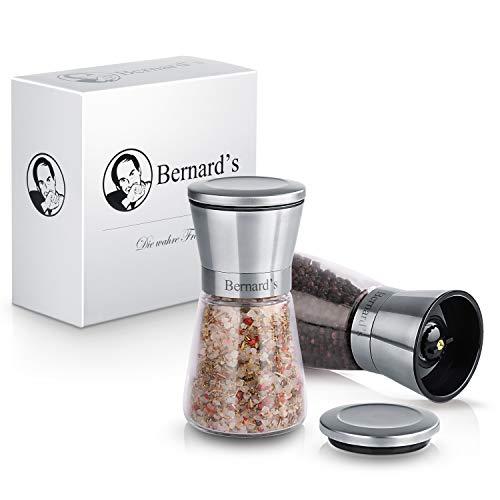 Bernard's Salz und Pfeffer Mühle aus deutsch-französischer Hand - Elegantes Gewürzmühlen Set mit verstellbarem Keramikmahlwerk - stilvolle Chilimühle - inklusive Gourmet-Kochbuch