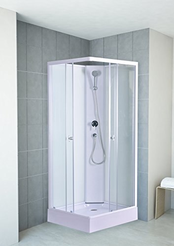 DUSAR Komplettdusche Fertigdusche Astoria 80 cm, 195 cm hoch Duschkabine Eckdusche Eckeinstieg mit vier Wänden rundum geschlossen komplett Dusche
