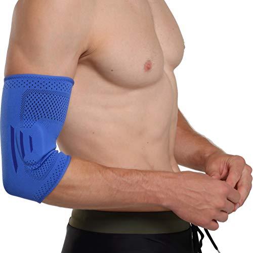 oxoxo med Ellenbogen-Bandage mit ergonomischer Passform durch 3D-Stricktechnik   Schutz und Stabilisierung des Ellenbogen-Gelenks durch beidseitige Silikon-Pads [M]
