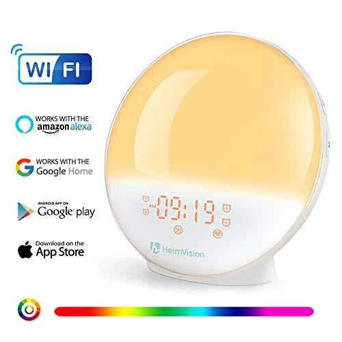 【App Kontrolle】Wecker Licht Lichtwecker, kompatibel mit Alexa & Google Home, Wake Up Licht, Sonnenaufgang Sonnenuntergang Simulation, FM-Radio