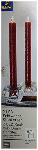 TCM Tchibo 2 x LED Echtwachskerzen Stabkerzen Kerzen rot flackernd