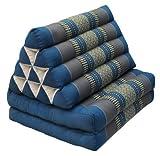 Kapok Thaikissen, Yogakissen, Massagekissen, Tantrakissen, Sitzkissen, Strandkissen, Meditationskissen - Blau/Grau (Dreieck mit zwei Auflagen 52x44x45)