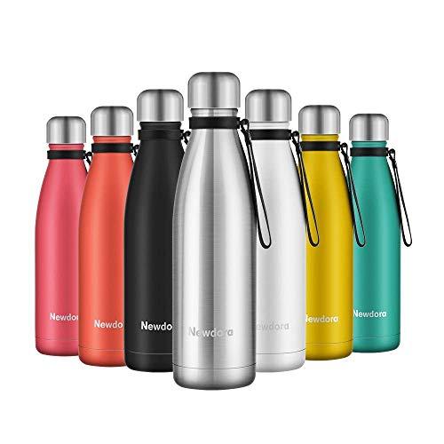 Newdora Vacuum Isolierte Wasserflasche & Vacuum Flask - 500 ml, 12 Stunden heiß / 24 Stunden kalt, doppelwandiger 18/8-Edelstahl für Kinder, Sport und Outdoor mit Reinigungsbürste