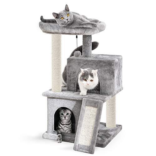 Eono Essentials Katzenbaum Kratzbaum Kratzbäume Katzenmöbel mit Sisal-Seil Plüsch Liege höhlen Spielhaus Spielzeug für Katzen Grau