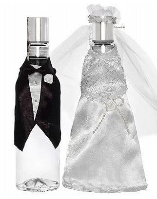 Unbekannt partydeco Uw3–008-karton–Set 2Stück Flaschenhülle Kleidung Brautpaar