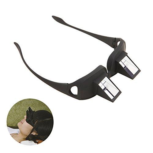 Tera Unisex Relaxbrille Horizontal Faule Brille Liegeradbrille Periskop für Bettlesen Buchlesen Lesen Fernsehen (Einfach hinlegen und Buch lesen) (Schwarz)