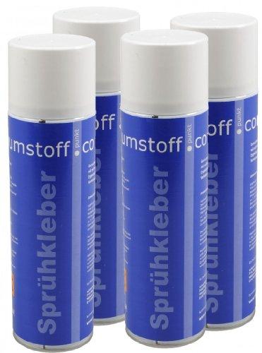 4 Dosen Sprühkleber a 500ml Dose, kräftiger Kleber Spraydose mit Dosierventil, geruchsarm und transparent