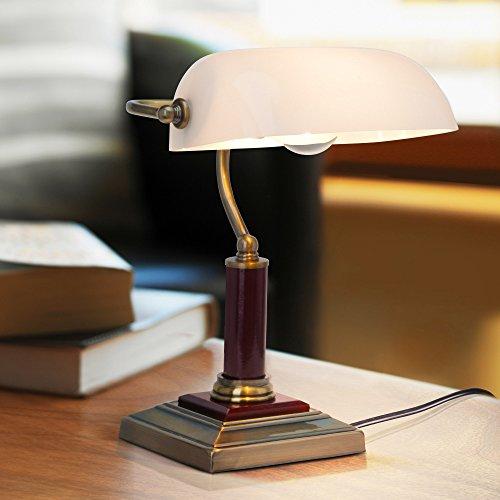 Elegante Bankerlampe, Schreibtischleuchte, mit Holzsockel, 1x E27 max. 60W, Metall / Holz / Glas, messing antik