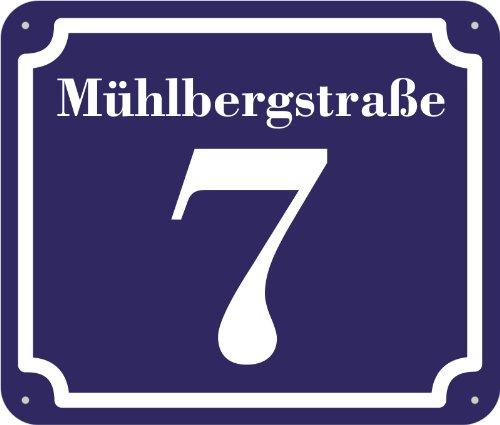 blaues Hausnummer und Straße Schild 2mm Aluverbund, 1-2 Zahlen 20 x 17 cm jetzt selbst gestalten