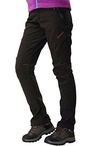Outdoorhose Damen Wanderhose Wasserdicht Softshellhose Gefüttert Hose Winter Trekkinghose Funktionshose, Stil 1:Schwarz, Gr. EU-XL/Asia-3XL
