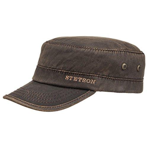 Stetson Datto Armycap Wintercap Baumwolle Herren - Armykappe Herrencap mit Schirm, Futter, Hinten geschlossen, Futter Herbst-Winter - L (58-59 cm) braun