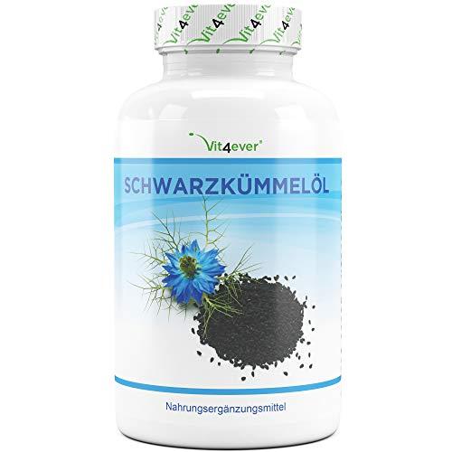Vit4ever Schwarzkümmelöl - 420 Kapseln - Einführungspreis - 1000 mg pro Tagesportion - Laborgeprüft - 7 Monatsvorrat - Kaltgepresst - Naturbelassen - Hochdosiert - natürliches Vitamin E