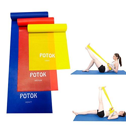 Potok Fitnessbänder 3er-Set 120 x 15 cm für Fitness, Reha, Gymnastik und Physiotherapie   Leicht   Medium   Stark - Fitnessband Trainingsband Gymnastikband, Für Männer & Frauen