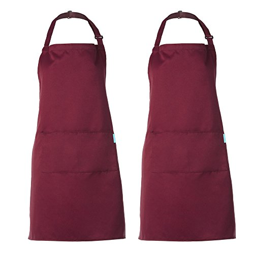 Esonmus Schürze Kochschürze Küchenschürze Latzschürze in verschiedenen Farben mit verstellbarem Nackenband (2er Rot)