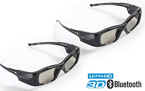 2x Hi-SHOCK 3D-BT Pro 'Black Diamond' | Smart Active 3D Brille für 4K / HDR / HD 3D TV's von Sony, Samsung, Panasonic, Sharp, Toshiba, LG Plasma, Hisense ( Bj. 2011-2018*) | kompatibel mit SSG-3570 CR / TDG-BT500A / AN3DG35 / TY-ER3D5ME / FPT-AG04 / AG-S350 / FPS3D08 | optimiert Schärfe, Helligkeit & Kontrast | inkl. umfangreiches Zubehör + 3 Jahre Garantie [Shutterbrille | 120 Hz | Akkubetrieb | 39g | Bluetooth]