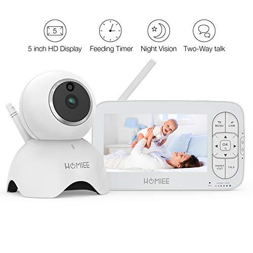 HOMIEE Babyphone mit Kamera, Video Babyphone, Baby Monitor, mit Temperatursensor, Schlaflieder, Nachtsicht, Gegensprechfunktion