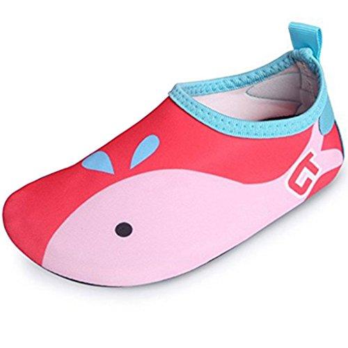 SITAILE Aquaschuhe Barfuß Schuhe Schwimmschuhe Badeschuhe Wasserschuhe Surfschuhe Sportschuhe für Kinder Rot EU 22-23