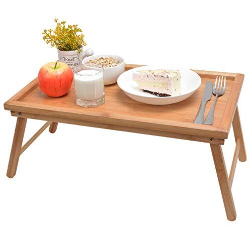 Betttablett Serviertablett Tabletttisch mit klappbaren Beinen - Sofatisch Frühstückstablett fürs Bett 60x30x23cm, Bambus