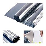 RH Art Fensterfolie Sonnenschutz UV-Schutz Blickdicht Spiegelfolie Hitzeschutz Verdunkelungsfolie - Silber, 90 x 400 cm