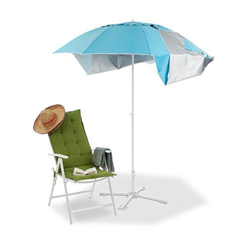 Relaxdays Strandmuschel Schirm, Sonnenschirm Strandzelt m. Tragetasche, UV 50 Sonnenschutz, Schirm HxD 210x180cm, Blau