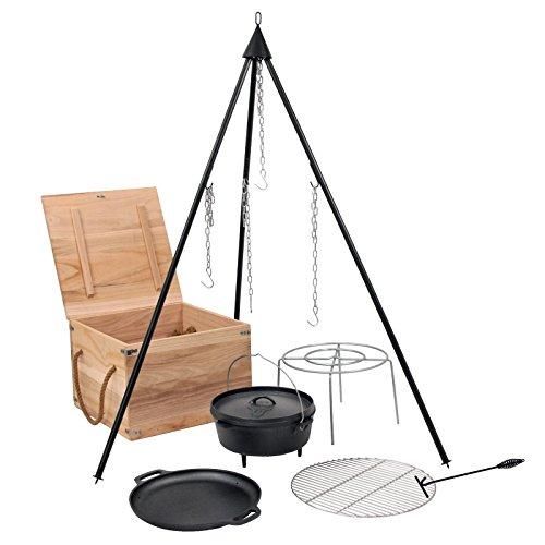Wiltec Dutch Oven Set Grillrost Dreibein Plancha Topfständer Kessel Holzkiste Grill BBQ