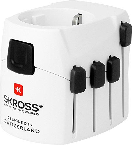 SKROSS PRO - Reiseadapter für Reisende aus Europa (Schuko-Standard) mit patentierten Länderschiebesystem für Reisen in über 220 Länder (USA, UK, Australien, China, Italien, Schweiz, Brasilien …)