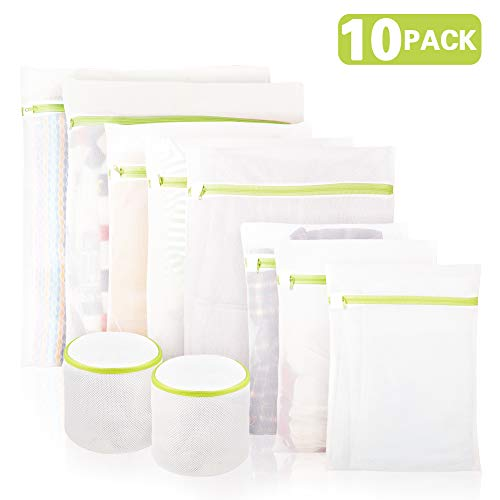 10er Pack Netz-Waschbeutel mit Premium-Reißverschluss, inkl. 2 Verstärkte BH-Waschbeutel, Geeignet für Wäsche Bluse Strümpfe Strumpfwaren Unterwäsche BH, Reise-Wäschebeutel