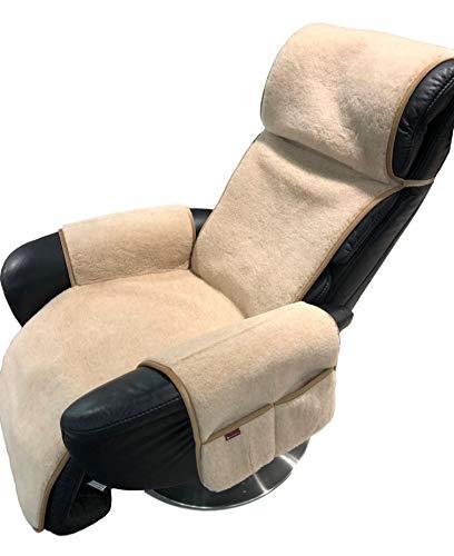 Alpenwolle Sesselschoner Relaxsessel Alpaca mit Taschen und Befestigung Überwurf Sitzauflage 100% Wolle