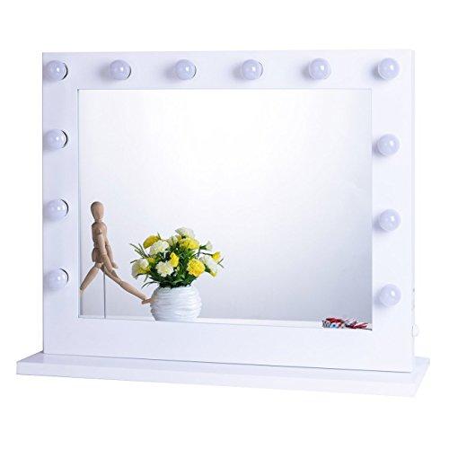 Chende Weiß Hollywood Schminkspiegel mit Beleuchtung Bühne Kosmetikspiegel, Schönheit Theaterspiegel groß, LED beleuchtet schminktisch spiegel, Mauer Montiert Spiegel, Freie Glühbirnen (8065, Weiß)
